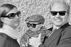 family ireland portrait sunglasses blackwhite tmax400 kodaktmax400 nikonfe2 irishamericans motherfatherbaby primelens55mm
