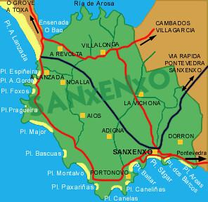 Mapa de playas de Sangenjo