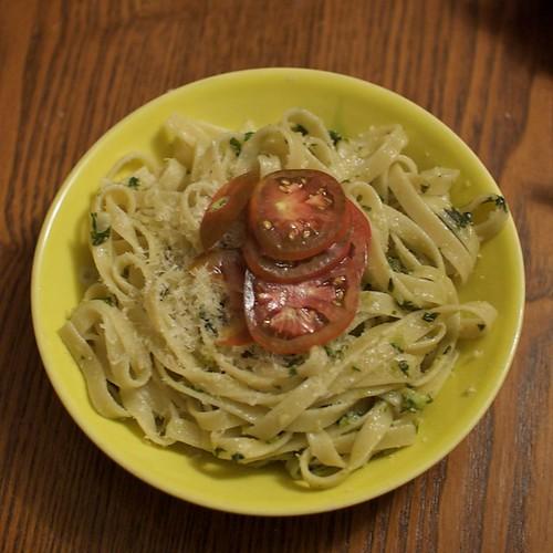 Dinner: Pesto pasta with tomatoes