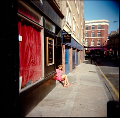 (bleekism) Tags: street uk pink red sunlight colour brick london space velvet read slippers yello eastend basking vibrance autaut