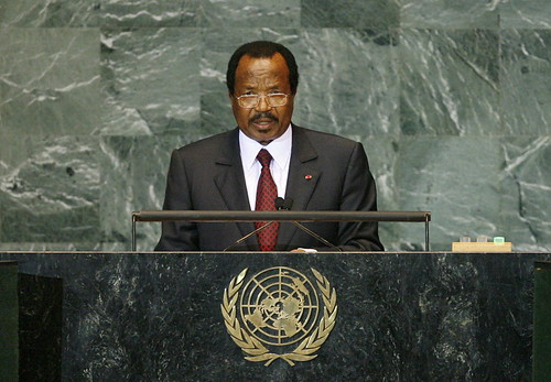 Paul Biya, speaking at the United Nation in New York City, has been president of Cameroon since 1982. Image by United Nation Photos on Flickr, under a CC BY NC ND 2.0 licence.