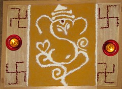 ganesha 2009 rangoli (Jennifer Kumar) Tags: india elephant art holidays god handmade crafts arts ganesh hindu hinduism vinayaka lordganesh ganapathi ganeshchathurthi hinduculture roopashri handmadeganesha alaivanicontributors alaivaniseptember2009 hinducultureinamerica celebraitons