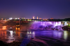 The American Falls (Philipp Klinger Photography) Tags: new york trip travel bridge light shadow vacation sky orange usa ny ontario canada color colour reflection fall nature water yellow rock skyline night america skyscraper river dark landscape lights us waterfall nikon rocks colorful long exposure purple state bright united von vivid niagara falls cliffs american states colourful amerika philipp kanada on staaten klinger vereinigte of d700 dcdead vanagram