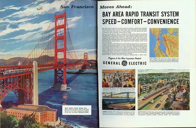 BART crosses the Golden Gate Bridge (1961)