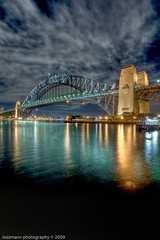 Sydney Harbour Bridge (lozzmann) Tags: longexposure nightphotography bridge night clouds nikon harbour sydney bridges australia nsw newsouthwales highdynamicrange sydneyharbour sydneyharbourbridge photomatix tthdr kirribillipoint hdrextremes platinumphoto d700 hdratnight nikond700 nikon1424mmf28 hdrpro coloursofthenight