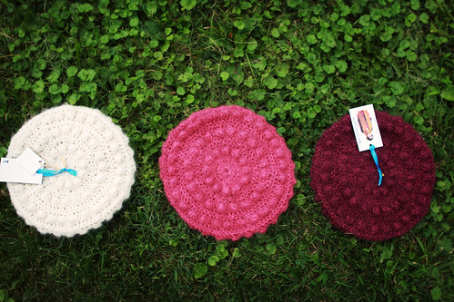 softspoken lux bubble berets - cream, hot pink tweed, purple tweed