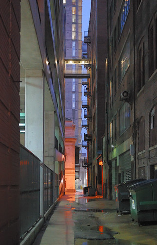 Downtown Saint Louis, Missouri, USA - alley at dusk in the rain 1
