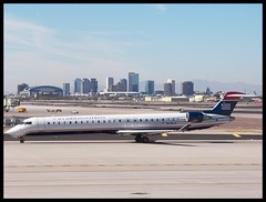 CRJ in Phoenix (Dusty_73) Tags: arizona sky usa phoenix america airplane harbor airport downtown aircraft aviation united jet az international commercial commuter express states airlines regional airliner crj usairways bombardier canadair