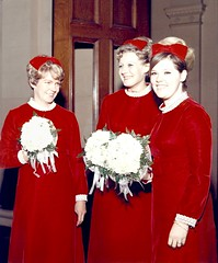 My 3 Bridesmaids at Wedding 1969, Not Married Now, but It was Lovely Then (Pixel Packing Mama) Tags: 1969 sixties reddress redset oldfamilyphotosset views50 pixelpackingmama meset dorothydelinaporter worldsfavorite 50to99viewspool redclothespool thepiedmontcaliforniayearsset overquartermilliionphotostreamviews canonpowershota720isiistart112508set canonallcanoniistart112508set thecorvallisoregonyears6set thecorvallisoregonyearsiistarting112508set uploadedfirsthalfof2009set favoritedpixvoliistartingjanuary12009set vintageweddingspool original1960sphotos pixelpackingmamasweddingin1969 weddingsetprivateuntilifixthemupset redbridesmaiddresses redbowsinhair uploadedfirsthalfof2009 views5175pool favalo pixelpackingmama~prayforkyronhorman oversixmillionaggregateviews over430000photostreamviews