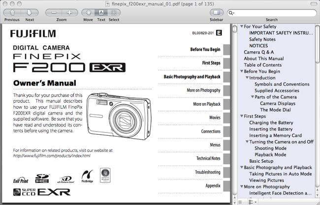 Fuji FinePix F200 EXR Owner's Manual / User Guide