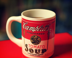 (ginnerobot) Tags: red home cup coffee vintage 50mm bokeh coffeemug campbells boughtatafleamarket