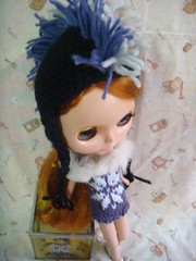 crocheted punk hat for blythe