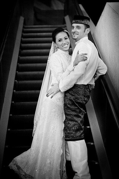 IMG:Black-and-White escalator portrait