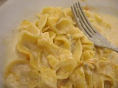 Pasta fiori de zucca, with a fork
