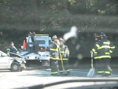 smashed car & tow truck 1