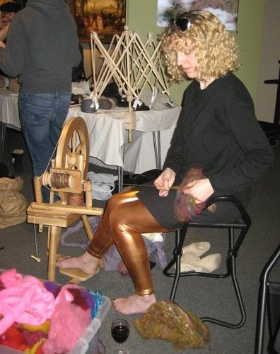 Spinning Wool at Museum of London's Create @ Late - May 2008
