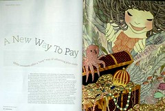 treasure (yokofurusho) Tags: sea girl illustration swimming treasure octopus editorial