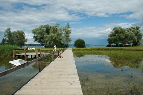 Steg über den Teich am Bodensee in Kreuzlingen