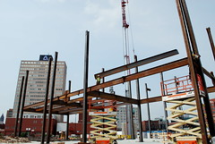 Steel Beams are Placed by Workers (Phil_5) Tags: house tower court concrete big workers construction crane steel moncton courthouse update overlooking beams