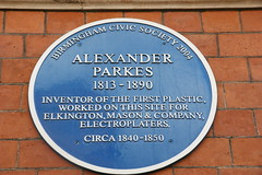 Photo of Josiah Mason, George Richards Elkington, and Alexander Parkes blue plaque