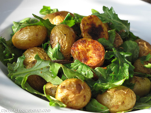 Roasted Spiced Arugula and Spud Salad