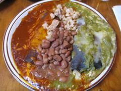 Smothered (ericmonasterio) Tags: chile christmas red santafe green chicken cheese wow beans amazing yum delicious enchilada theshed redchile greenchile smothered newmexican bluecorn posole