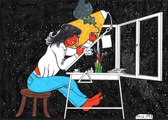 Across the Universe (Wasfi Akab) Tags: china trip travel light sky urban italy house selfportrait color art home cup window water coffee lamp night pen ink john dark comics painting hair paper stars table fun star book solar sketch chair europe long paint artist comic italia sitting drawing cigarette seat smoke iraq dream system smoking dreaming canvas creation galaxy fantasy strip mind painter planet beatles draw om exile lennon universe across jai perugia cosmos deva guru pensil jaigurudevaom jaigurudeva