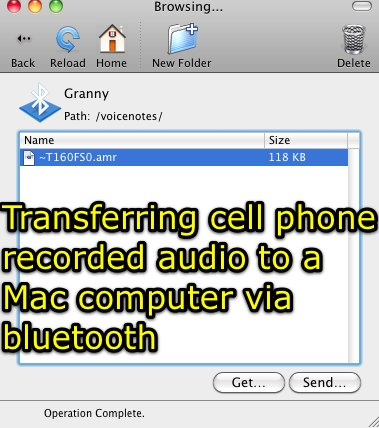 Transferring cell phone recorded audio to a Mac computer