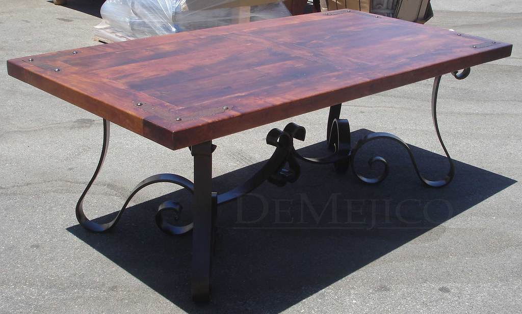 wrought iron table, mesqutie top table, hand forged iron
