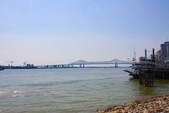 New Orleans Louisiana (Mona Hura) Tags: new bridge water river mississippi boat orleans louisiana paddle 4991
