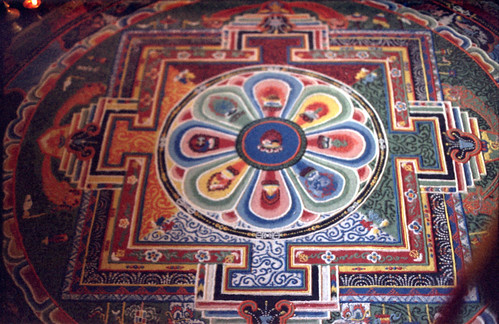 Tibetan Buddhist Mandala at Sakya Trizin's monastery, in Rajpur, India, in 1993 by Wonderlane