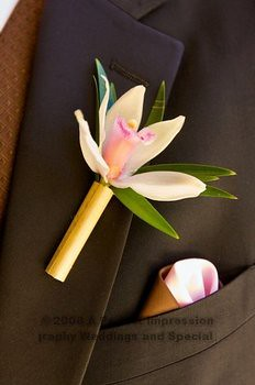 Tropical groom boutonniere (orchid and bamboo)