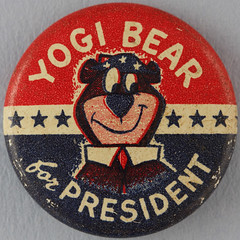 YOGI BEAR for PRESIDENT (Leo Reynolds) Tags: canon eos iso100 pin cartoon badge button squaredcircle 60mm f80 0sec 40d hpexif xchildhoodx groupbuttons grouppins groupbadges sqset041 xleol30x