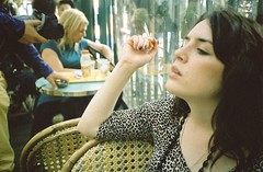 Am i french yet (Adele M. Reed) Tags: paris france me girl 35mm print nikon cigarette montmartre smoking leopard