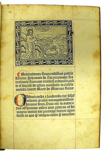 Metalcut illustration and coloured initial in Turrecremata, Johannes de: Meditationes