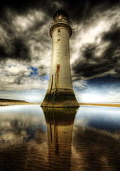 Reflected Light.. (jetbluestone) Tags: sea cloud lighthouse sand hdr mersey newbrighton perchrock hdraward