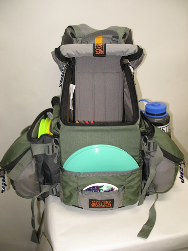 Front of Bag with Side Compartments Partially Compressed