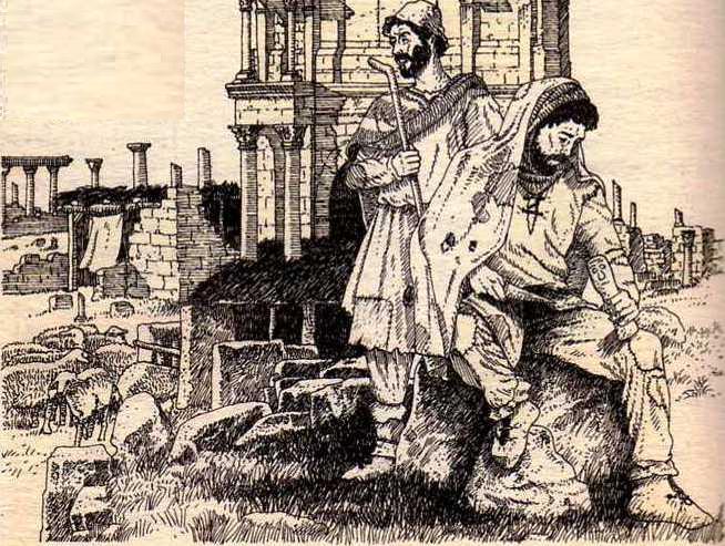 pastores en ruinas romanas