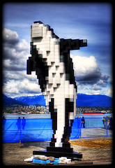 Digital Orca (Clayton Perry Photoworks) Tags: blue sky sculpture canada art public statue vancouver clouds canon downtown bc lego britishcolumbia pixel whale orca hdr douglascoupland jackpooleplaza digitalorca pixelthewhale