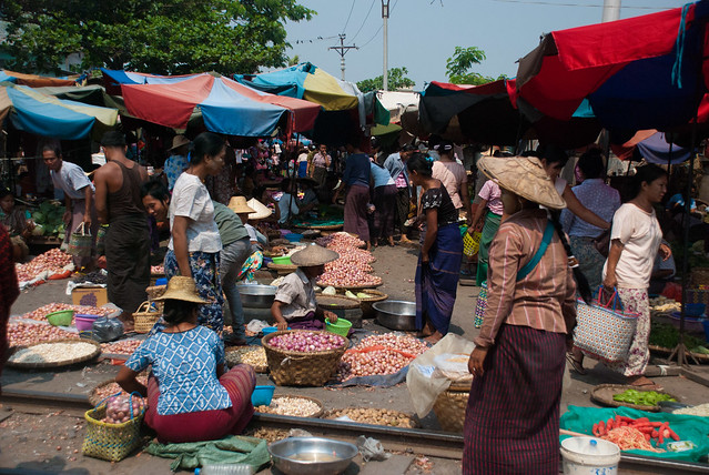 Women at Market on the Traintracks, Mandalay, Myanmar