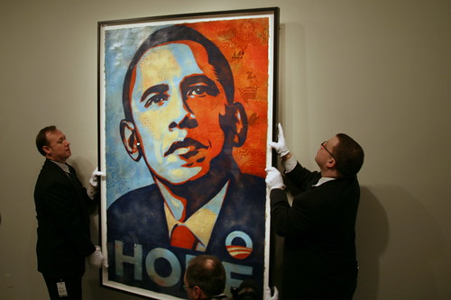 The National Portrait Gallery Hangs Shepard Fairey's Portrait of Barack Obama photographed by cliff1066™