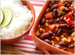 vegetarian chili (C.Mariani) Tags: winter food corn chili rice sweet tomatoes rustic january tasty casserole bean fresh textures clay vegetarian carrot peppers onion spicy lime sliced veggie comfort kidney boiled flavour mycreation