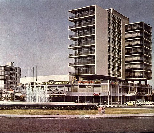 The modern El Pacifico building on the Ovalo Miraflores