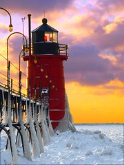 South Haven Drybrush (PhotoDocGVSU) Tags: winter sunset lighthouse color photoshop artistic lakemichigan greatlakes drybrush southhavenmi aplusphoto llmsmisouthhaven