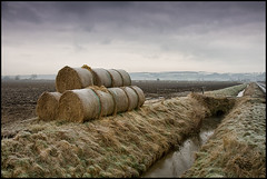 Old Baley (joyork) Tags: snow ice field landscape countryside stream frost yorkshire stack soil multiple hay bales bale