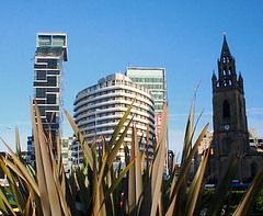 Liverpool - Seaport City (* RICHARD M (Over 6 million views)) Tags: new old england architecture modern liverpool buildings ancient europe cities cityscapes churches hotels ports pierhead merseyside atlantictowerhotel liverpoolecho seaports capitalofculture2008 stnichiolaschurch