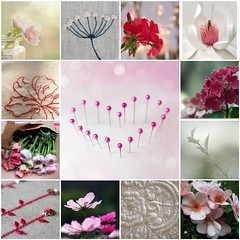 Valentine flowers just for me ... (Bloom and Blossom) Tags: pink flowers white heart blossom mosaic bloom