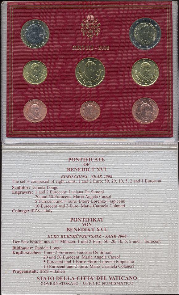 Sada 1 cent - 2 euro, Vatikán 2008