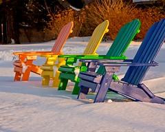 A change from white on white.... (Matt Champlin) Tags: light sun sunlight snow abstract color spring rainbow chair scenery furniture adirondack adirondackchair skaneateles mywinners platinumphoto aplusphoto colourartaward