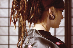 japanese memories (Vlien*) Tags: woman wall dreadlocks female canon 50mm yukata dread f18 piercings dreads earplugs tragus septum ricepaper updo stretchedearlobes tawapa woodenjewelry